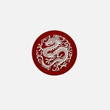 Traditional White and Red Chinese Dragon Circle Mi