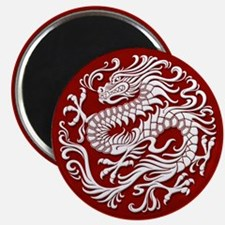 Traditional White and Red Chinese Dragon Circle Ma