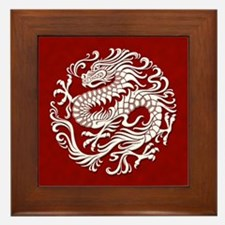 Traditional White and Red Chinese Dragon Circle Fr