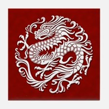 Traditional White and Red Chinese Dragon Circle Ti