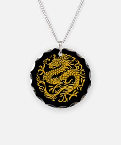 Traditional Yellow and Black Chinese Dragon Circle