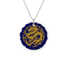 Traditional Golden Blue Chinese Dragon Circle Neck