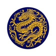"""Traditional Golden Blue Chinese Dragon Circle 3.5"""""""