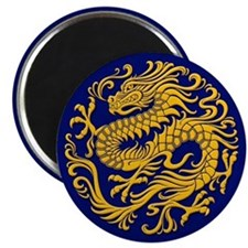Traditional Golden Blue Chinese Dragon Circle Magn
