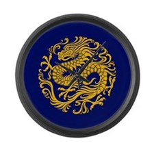 Traditional Golden Blue Chinese Dragon Circle Larg