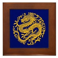 Traditional Golden Blue Chinese Dragon Circle Fram