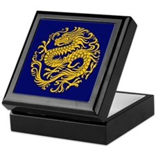 Traditional Golden Blue Chinese Dragon Circle Keep