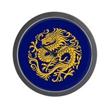 Traditional Golden Blue Chinese Dragon Circle Wall
