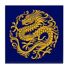 Traditional Golden Blue Chinese Dragon Circle Tile
