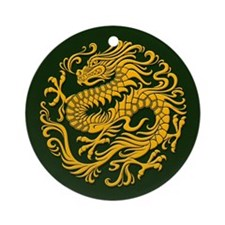 Traditional Golden Green Chinese Dragon Circle Orn
