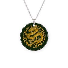 Traditional Golden Green Chinese Dragon Circle Nec