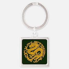 Traditional Golden Green Chinese Dragon Circle Key