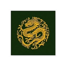 Traditional Golden Green Chinese Dragon Circle Sti