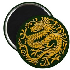 Traditional Golden Green Chinese Dragon Circle Mag