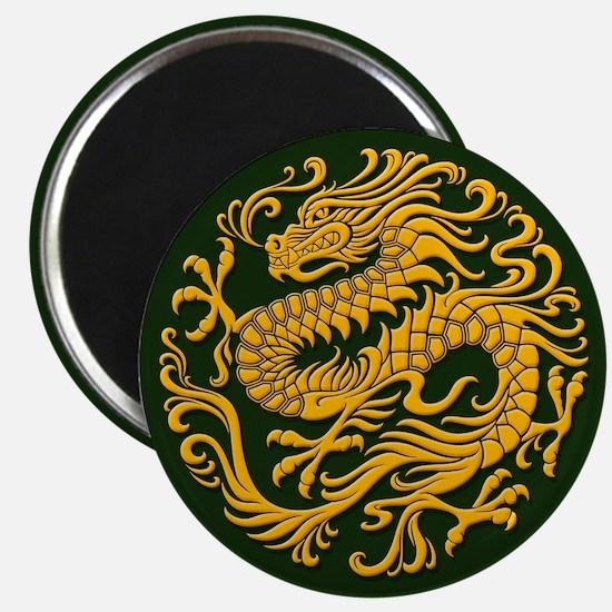 Traditional Golden Green Chinese Dragon Circle Mag