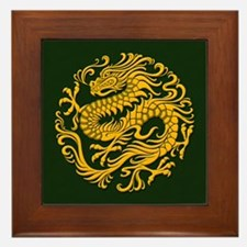 Traditional Golden Green Chinese Dragon Circle Fra