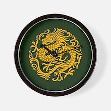 Traditional Golden Green Chinese Dragon Circle Wal