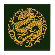 Traditional Golden Green Chinese Dragon Circle Til