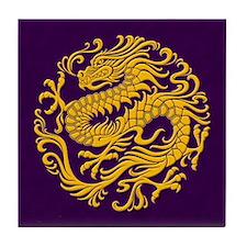 Traditional Golden Purple Chinese Dragon Circle Ti