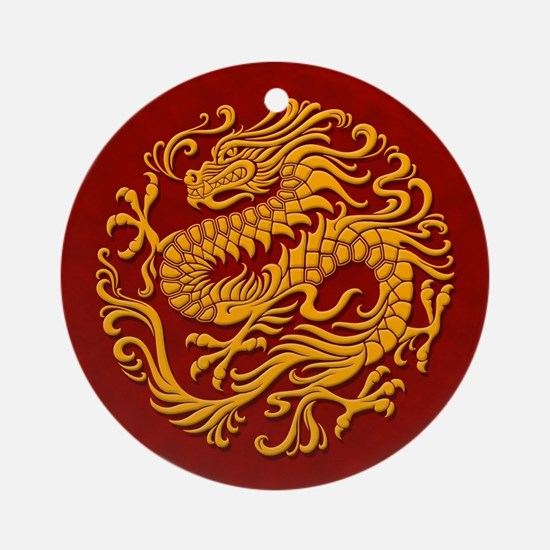 Traditional Golden Red Chinese Dragon Circle Ornam