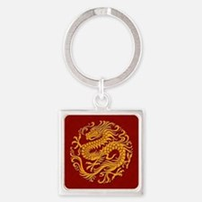 Traditional Golden Red Chinese Dragon Circle Keych