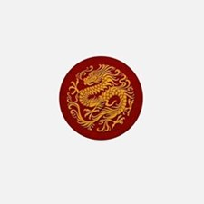 Traditional Golden Red Chinese Dragon Circle Mini