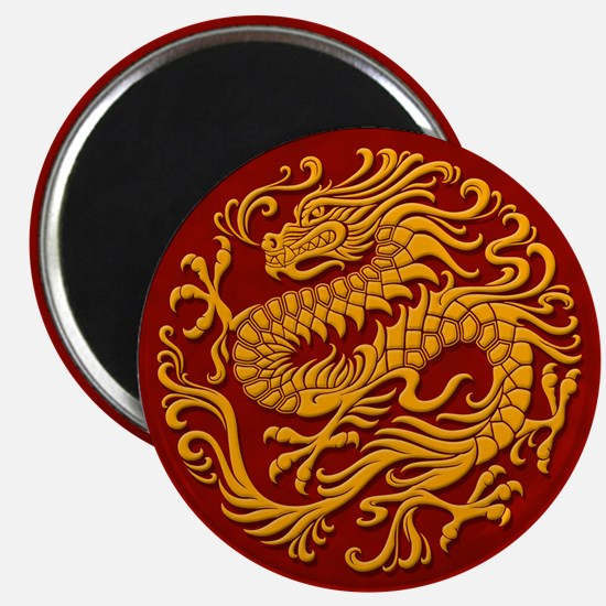 Traditional Golden Red Chinese Dragon Circle Magne