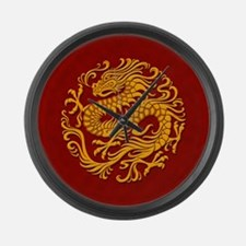 Traditional Golden Red Chinese Dragon Circle Large