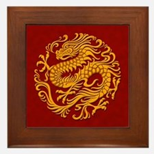 Traditional Golden Red Chinese Dragon Circle Frame
