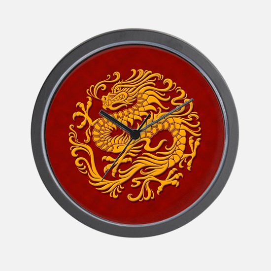 Traditional Golden Red Chinese Dragon Circle Wall
