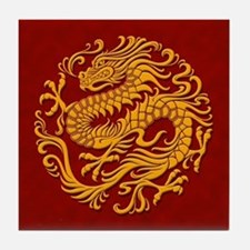 Traditional Golden Red Chinese Dragon Circle Tile