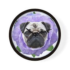 Pug Flower Wall Clock