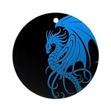Flying Tribal Blue Dragon Ornament (Round)