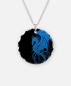 Flying Tribal Blue Dragon Necklace