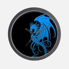 Flying Tribal Blue Dragon Wall Clock