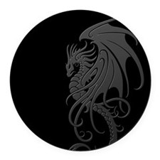 Flying Tribal Gray Dragon Round Car Magnet