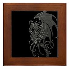 Flying Tribal Gray Dragon Framed Tile