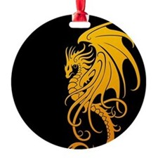 Flying Tribal Yellow Dragon Ornament