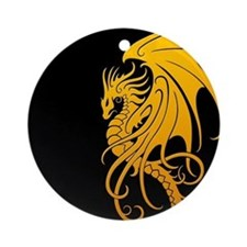 Flying Tribal Yellow Dragon Ornament (Round)