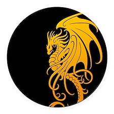 Flying Tribal Yellow Dragon Round Car Magnet