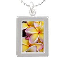 Hawaiian Plumeria Silver Portrait Necklace