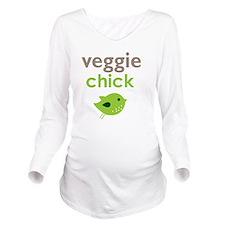 veggie chick Long Sleeve Maternity T-Shirt