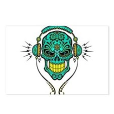 dj sugar skull yellow and blue Postcards (Package