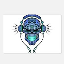 DJ Sugar Skull Blue Postcards (Package of 8)