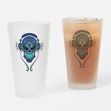 DJ Sugar Skull Blue Drinking Glass