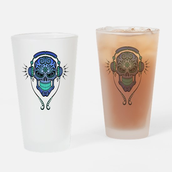 DJ Sugar Skull Blue Drinking Glass