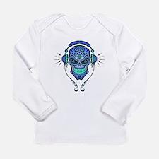 DJ Sugar Skull Blue Long Sleeve T-Shirt