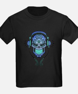 DJ Sugar Skull Blue T-Shirt