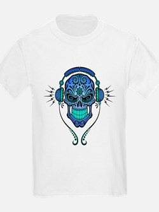 DJ Sugar Skull Blue T-Shirt