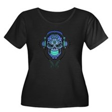 DJ Sugar Skull Blue Plus Size T-Shirt